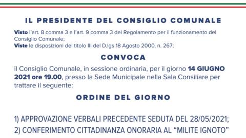 Consiglio Comunale in seduta straordinaria – 14 GIUGNO 2021
