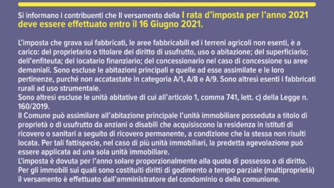 Imposta Municipale Propria (IMU) – Anno 2021
