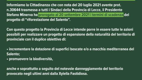 PROGETTO DI RIFORESTAZIONE DEL SALENTO – PROROGA al 20 Settembre 2021