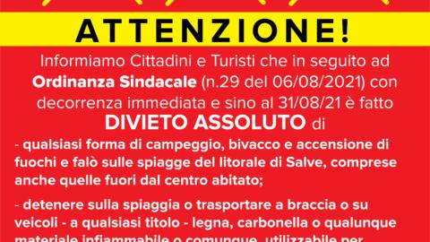 Ordinanza Sindacale (n.29 del 06/08/2021)