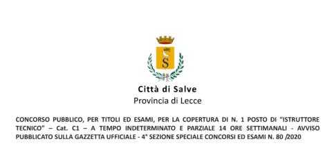 """CONCORSO PUBBLICO PER N. 1 POSTO DI """"ISTRUTTORE TECNICO"""" CAT. C1 A TEMPO INDETERMINATO E PIENO 14 ORE SETTIMANALI PUBBLICATO SU G.U.R.I. – 4° S.S. CONCORSI ED ESAMI N. 80 /2020. CONVOCAZIONE DELLA PRIMA E DELLA SECONDA PROVA SCRITTA: 16/10/2021 ORE 09:30 E ORE 12:00"""