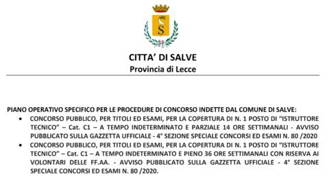 PIANO OPERATIVO SPECIFICO DELLE PROVE DEI BANDI DI CONCORSO PER ISTRUTTORE TECNICO CAT. C1 PUBBLICATI SULLA G.U.R.I. – 4 S.S. CONCORSI ED ESAMI N. 80/2020.
